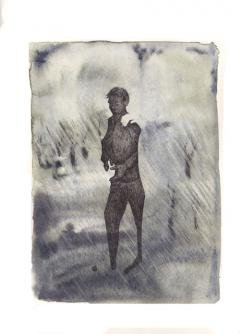 Illustration of a young man walking alone.