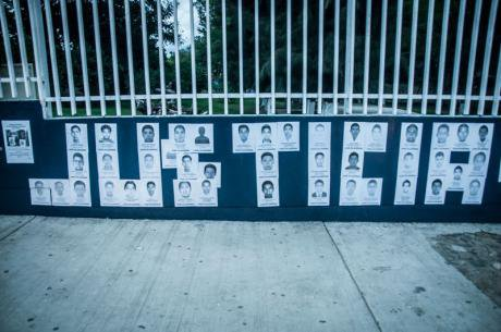Posters with the faces of the 43 students disappeared in Ayotzinapa.