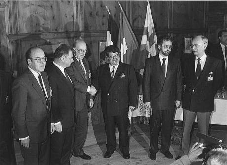 The Davos Declaration (pre-WEF). Handshake between Turkish and Greek Prime Ministers at Davos Town Hall, 1988.