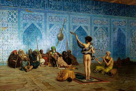 The eastern world depicted in The Snake Charmer(1880) by Jean-Leon Gerome.