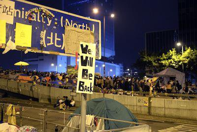 """""""We will be back"""" slogan at Admiralty. Demotix/Jason Langley. All rights reserved."""