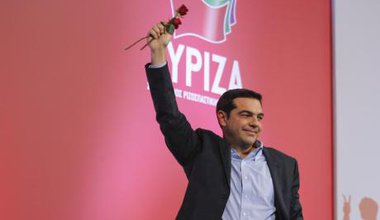 Alexis Tsipras delivers Thessaloniki campaign speech, January 20.