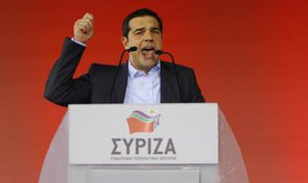 Alexis Tsipras speaks at the final Syriza election rally.