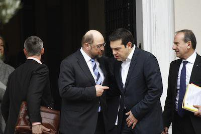President of the European Parliament, Martin Schulz, and Alexis Tsipras. Demotix/Michael Debets. All rights reserved.