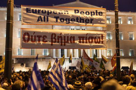 Pro-government rally in Syntagma Square, February 2015.