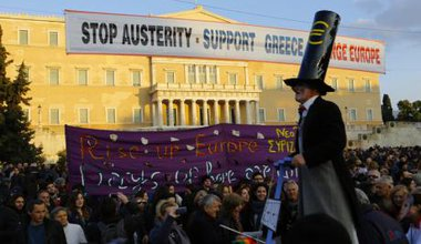 Third pro-government protest in Athens, February 2015.