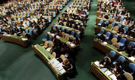 Delegates fill the general assembly hall during the opening of the CSW in 2012.