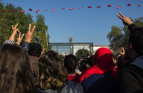 Demonstration in front of the Bardo museum after the attack. Hamideddine Bouali/Demotix. All rights reserved.