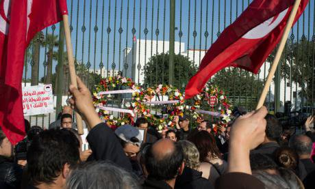 Demonstrations in front of the Bardo museum,March 19, 2015.