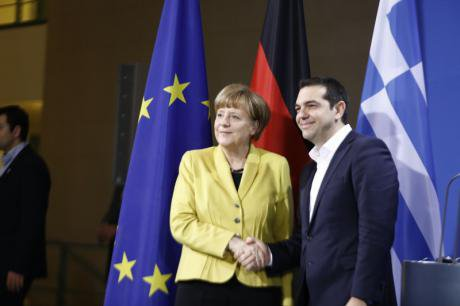 Angela Merkel welcomes Alexis Tsipras to a bilateral meeting, March 2015.
