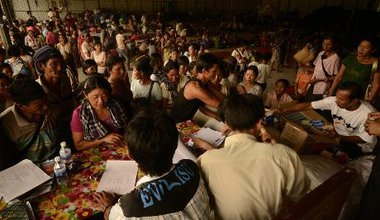 An internally displaced peoples (refugee) camp in the Laiza City Hall, Myanmar