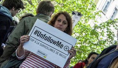 During a rally against the new Intelligence Bill in Paris, April 2015. Demotix/Yann Korbi. All rights reserved.