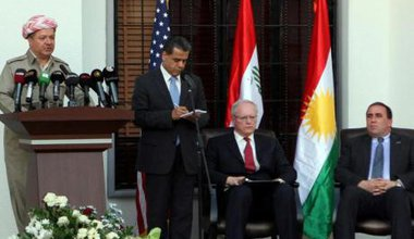 Massoud Barzani addresses official opening of US consulate in Erbil, 2011.
