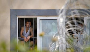 A man from Algeria is detained in Fylakio detention centre, north eastern Greece