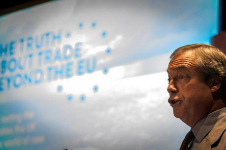Nigel Farage launches a pamphlet on a trade exit from the EU, June, 2015.