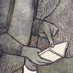 Illustration showing someone holding an open notebook and pointed at the page.