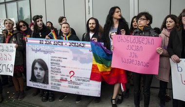 A protest outside the House of Justice, Tbilisi to demand legal gender recognition for transgender people, International Women's Day, 2018 | Mariam Nikuradze/OC Media