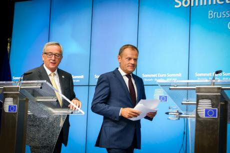 Donald Tusk and Jean-Claude Juncker in press conference after EU summit on Greece.