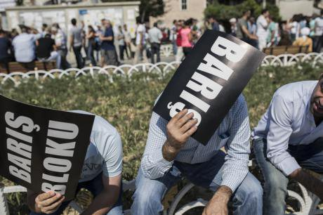 Istanbul protest at government's cessation of peace process with PKK, July, 2015.