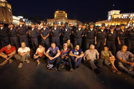 Protest against electricity price increases,Yerevan, July 2015.