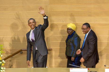 President Obama makes his first presidential visit to African Union,in Addis Ababa, Ethiopia, July 2015.