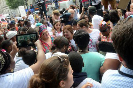 Protests outside Downing St.after closure of Kids Company.