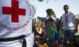 Humanitarian assistance to Syrian refugees at Idomeni, Greece, August, 2015.