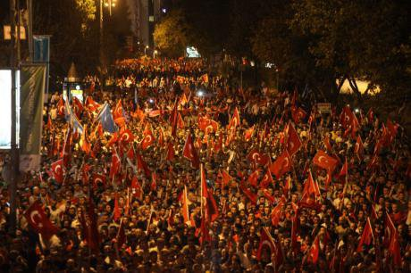 Turkish nationalists march against PKK in Istanbul, September 8.