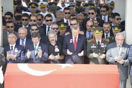 Erdogan and top officials In Ankara to mourn soldiers killed by the PKK, September 2015.