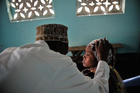 A patient is examined during a visit by the UN Representative on Sexual Violence in Conflict in Mogadishu, Somalia.