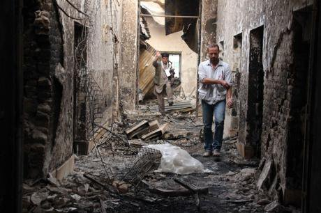 MSF staff inside destroyed hospital in Kunduz where 22 patients and staff were killed in a US bombing raid on October 3, 2015.
