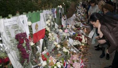 Tributes paying homage to victims of the Bataclan concert hall.