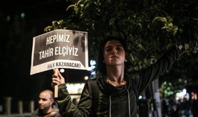 Street protest after leading lawyer Tahir Elci was killed in an armed attack, November 28, 2015.