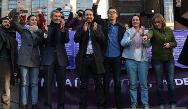 Podemos in a campaign meeting in Madrid, December 2015