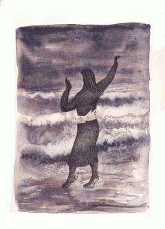 Illustration of a woman dancing alone.