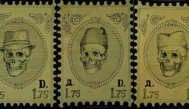 A triptych titled Philately. The skulls wear hats traditional for the three main ethnic groups in BiH. Author - Emir Hodzic.jpg