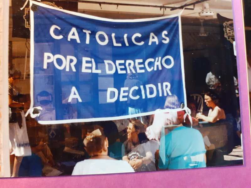 Catholics for Choice banner at the 1990 abortion workshop