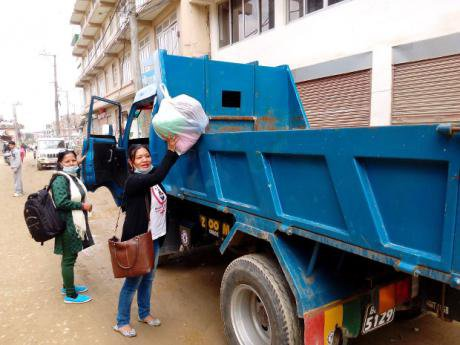 An aid distribution truck