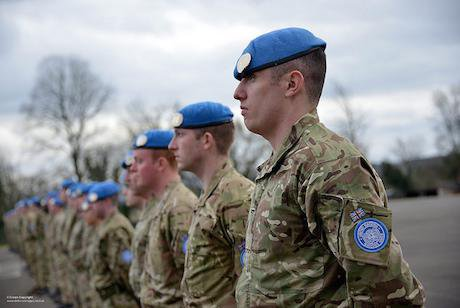 Army Reservists Receiving their United Nations Blue Berets. Defence Images:Russ Nolan:Flickr. Some rights reserved.jpg