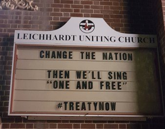A sign outside Leichhardt Uniting Church in Sydney reads: