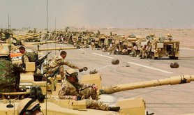 Iraq War March 2003 Scots Dragoon Guards of the British Army take a break after a long night of fighting in southern Iraq