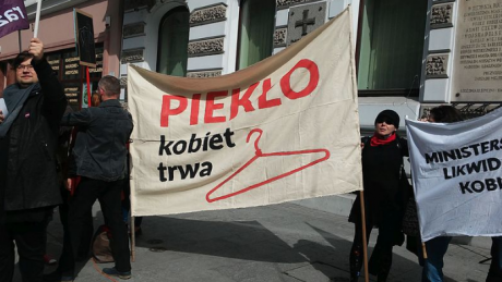 Polish women protest a proposed near-total ban on abortion in 2016.