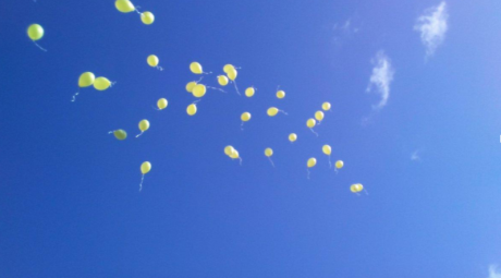 Balloons released for Laura at her funeral.