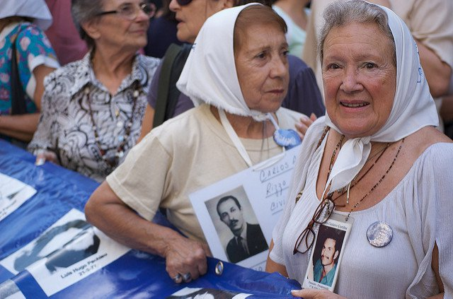 The Mothers of Plaza de Mayo protesting in 2009 with their white headscarves