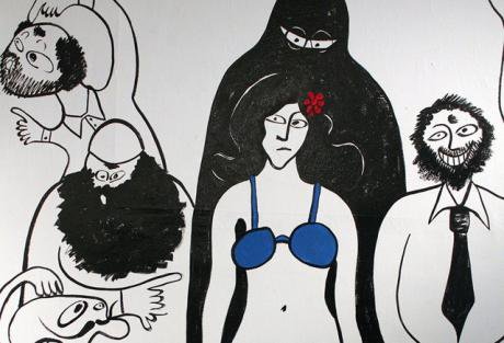 Painting of woman in blue bra being pointed at by surrounding people (reference to police assault on Tahrir protester)