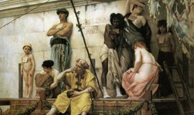 Oil painting of an ancient Greek slave market