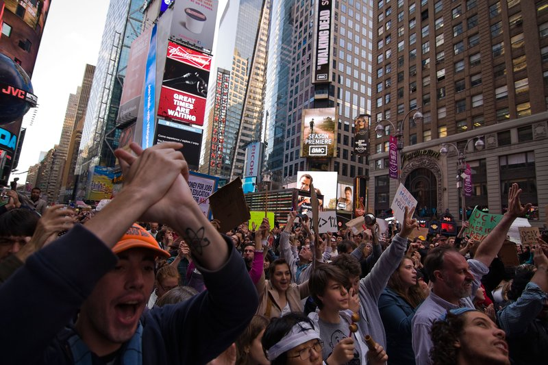 An Occupy Wall Street march through New York's Times Square in 2011.