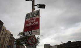 A poster in Dublin urgers voters to reject the Lisbon Treaty with the slogan 'They won your freedom'