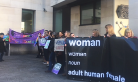 Women opposing trans rights reforms protest in London.