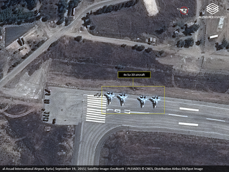 Russian planes at Latakia airbase. AllSource Analysis   GeoNorth   Airbus. All rights reserved.
